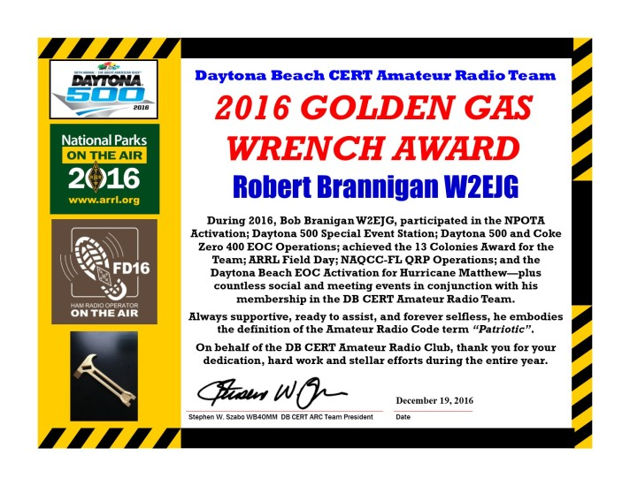 DBCERT ARC 2016 Certificate W2EJG Gas Wrench Award
