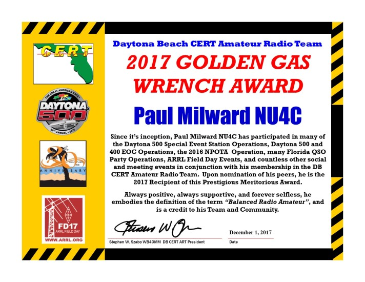 DBCERT ARC 2017 Certificate NU4C Gas Wrench Award